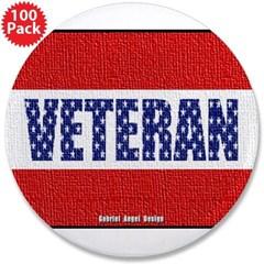 "Veteran Flag Banner 3.5"" Button (100 pack)"