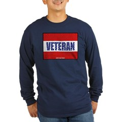 Veteran Flag Banner Long Sleeve Dark T-Shirt