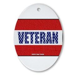 Veteran Flag Banner Oval Ornament
