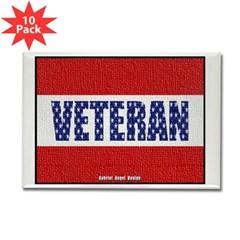 Veteran Flag Banner Rectangle Magnet (10 pack)