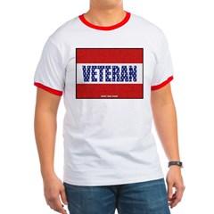 Veteran Flag Banner Ringer T-Shirt