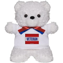Veteran Flag Banner Teddy Bear