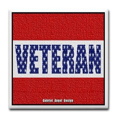 Veteran Flag Banner Tile Coaster