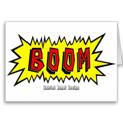 Boom Cartoon Blurb Greeting Card