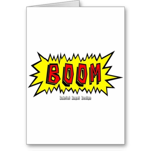Boom Cartoon Blurb Greeting Card
