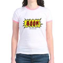 Boom Cartoon Blurb Junior Ringer T-Shirt