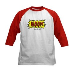 Boom Cartoon Blurb Kids Baseball Jersey T-Shirt