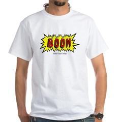Boom Cartoon Blurb White T-Shirt