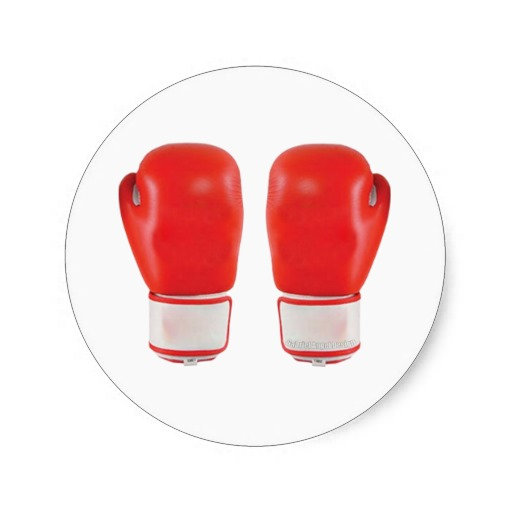 Red Boxing Gloves Classic Round Sticker