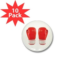 Red Boxing Gloves Mini Button (10 pack)