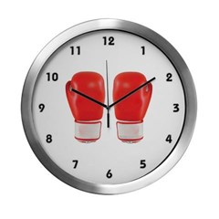 Red Boxing Gloves Modern Wall Clock
