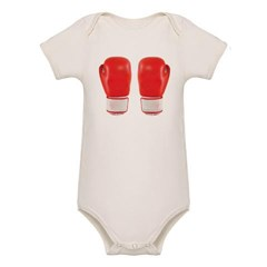 Red Boxing Gloves Organic Baby Bodysuit
