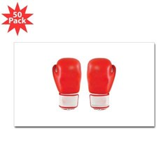 Red Boxing Gloves Rectangle Decal 50 pk