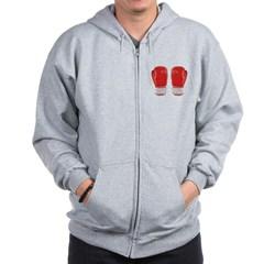 Red Boxing Gloves Zip Hoodie