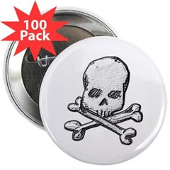 "Skull and Bones 2.25"" Button (100 pack)"
