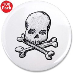 "Skull and Bones 3.5"" Button (100 pack)"