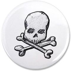 "Skull and Bones 3.5"" Button"