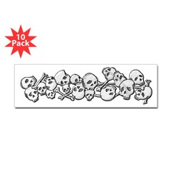 Skull and Bones Bumper Sticker 10 pk