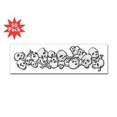 Skull and Bones Bumper Sticker 50 pk