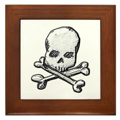 Skull and Bones Framed Tile