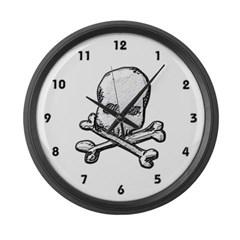 Skull and Bones Large Wall Clock