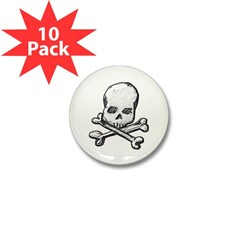 Skull and Bones Mini Button (10 pack)