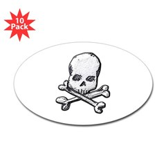 Skull and Bones Oval Decal 10 pack