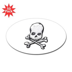 Skull and Bones Oval Decal 50 pack