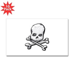 Skull and Bones Rectangle Decal 10 pack