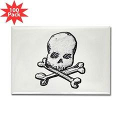 Skull and Bones Rectangle Magnet (100 pack)