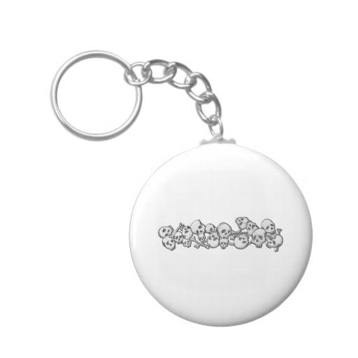 Skull and Cross Bones Basic Button Keychain