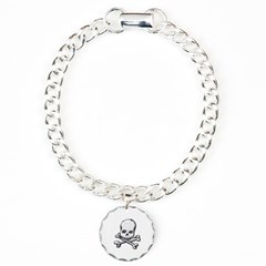Skull and Cross Bones Bracelet with Round Charm