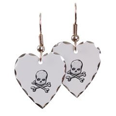 Skull and Cross Bones Heart Earrings