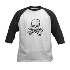 Skull and Cross Bones Kids Baseball Jersey T-Shirt
