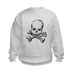 Skull and Cross Bones Kids Crewneck Sweatshirt by Hanes