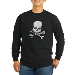 Skull and Cross Bones Long Sleeve Dark T-Shirt