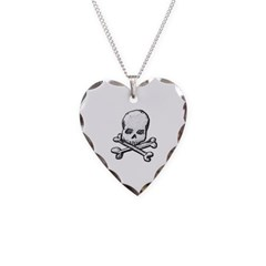 Skull and Cross Bones Necklace with Heart Pendant