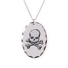 Skull and Cross Bones Necklace with Oval Pendant