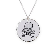 Skull and Cross Bones Necklace with Round Pendant