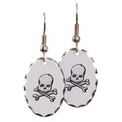 Skull and Cross Bones Oval Earrings