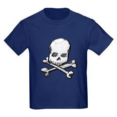 Skull and Cross Bones Youth Dark T-Shirt by Hanes