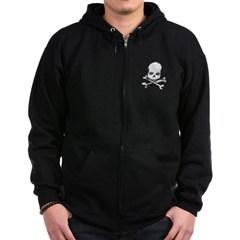 Skull and Cross Bones Zip Dark Hoodie