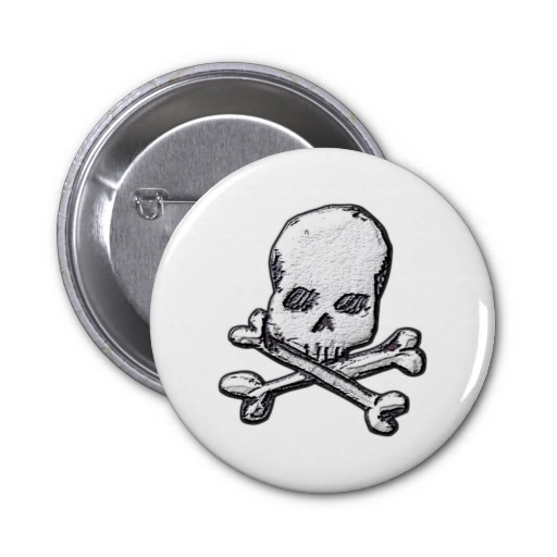 Skulls and Cross Bones Button