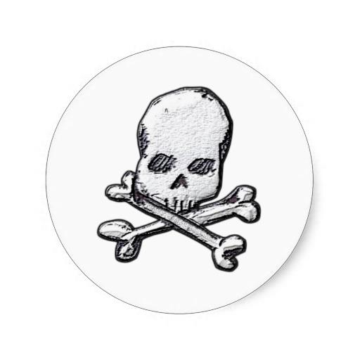 Skulls and Cross Bones Classic Round Sticker