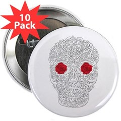 "Day of the Dead Skull 2.25"" Button (10 pack)"