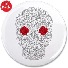 "Day of the Dead Skull 3.5"" Button (10 pack)"