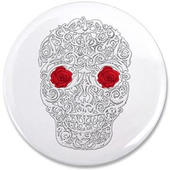 "Day of the Dead Skull 3.5"" Button"