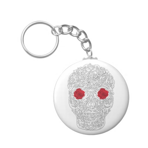 Day of the Dead Skull Basic Button Keychain