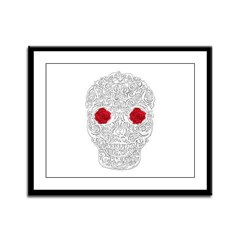 Day of the Dead Skull Framed Panel Print