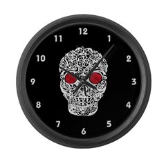 Day of the Dead Skull Large Wall Clock